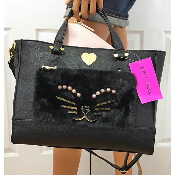 Betsey Johnson Handbags - Betsey Johnson Cat Face Handbag & Pouch Set New